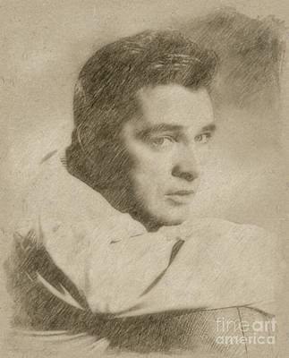 Fantasy Drawings - Richard Burton Hollywood Actor by Frank Falcon