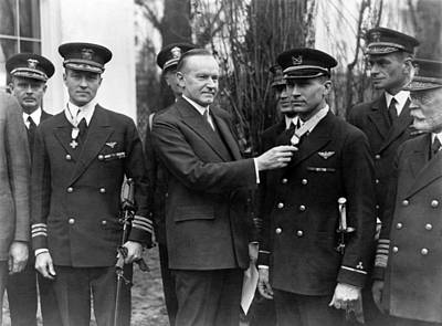 Photograph - Richard Byrd And Floyd Bennett - Medal Of Honor Presentation - 1927 by War Is Hell Store