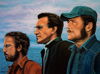 Novelist Painting - Jaws With Richard Dreyfuss, Roy Scheider And Robert Shaw by Paul Meijering