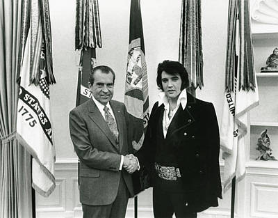 Richard Nixon And Elvis Presley Art Print by Unknown