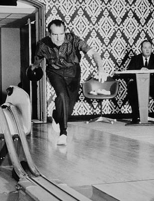 Nixon Photograph - Richard Nixon Bowling At The White by Everett