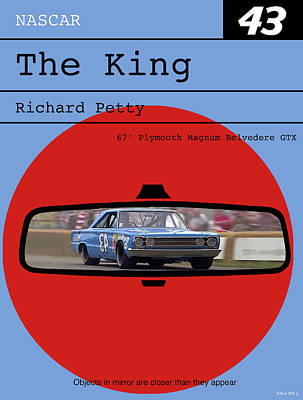 Richard Petty, The King, Plymouth Magnum Belvedere, Minimalist Poster Print by Thomas Pollart