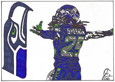 Drawing - Richard Sherman 2 by Jeremiah Colley