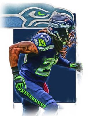 Mixed Media - Richard Sherman Seattle Seahawks Oil Art by Joe Hamilton