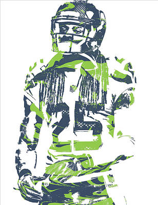 Seattle Mixed Media - Richard Sherman Seattle Seahawks Pixel Art 12 by Joe Hamilton