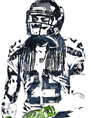 Richard Sherman Seattle Seahawks Pixel Art 4 Art Print