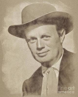 Musicians Drawings Rights Managed Images - Richard Widmark Hollywood Actor Royalty-Free Image by John Springfield