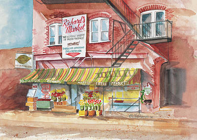 Emmaus Painting - Richard's Market by Diane Hutchinson