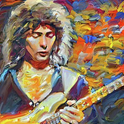 Digital Art - Richi Blackmore Deep Purple Portrait 2 by Yury Malkov