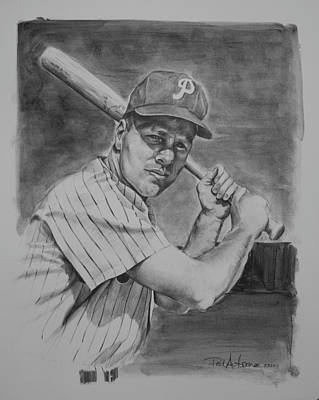 Paul Autodore Artist Drawing - Richie Ashburn by Paul Autodore