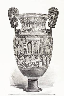 Richly Decorated Greek Vase. From El Art Print by Vintage Design Pics