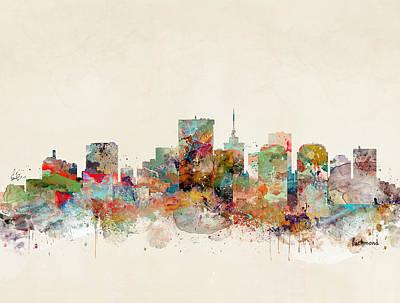 Painting - Richmond City Skyline by Bleu Bri