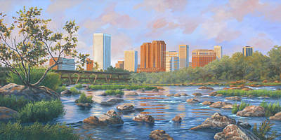Painting - Richmond City Skyline by Guy Crittenden