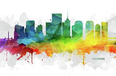 Virginia City Digital Art - Richmond Skyline Mmr-usvari05 by Aged Pixel