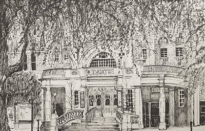 Pen And Ink Tree Drawing - Richmond Theatre London by Vincent Alexander Booth