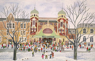 Wintry Drawing - Richmond Theatre   Surrey by Judy Joel