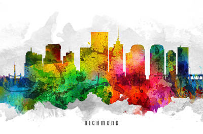 Virginia City Digital Art - Richmond Virginia Cityscape 12 by Aged Pixel
