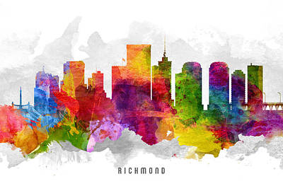 Virginia City Digital Art - Richmond Virginia Cityscape 13 by Aged Pixel