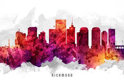 Virginia City Digital Art - Richmond Virginia Cityscape 14 by Aged Pixel