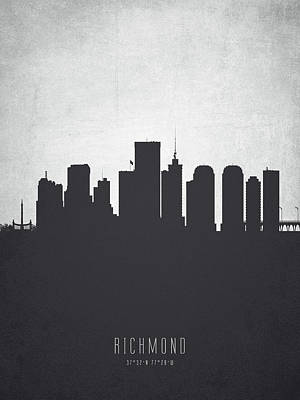 Virginia City Digital Art - Richmond Virginia Cityscape 19 by Aged Pixel