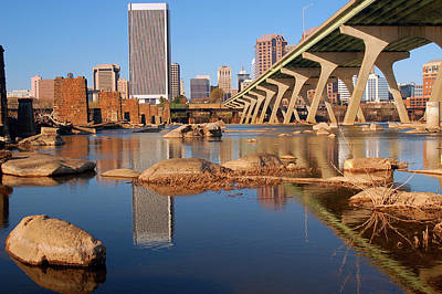 Photograph - Richmond Virginia Reflected In The James River by James Kirkikis