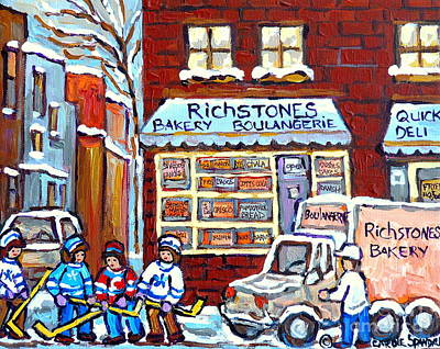 Painting - Richstone Bakery And Delivery Truck Montreal Memories Neighborhood Hockey Game Carole Spandau Art by Carole Spandau