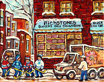 Montreal Neighborhoods Painting - Richstone Bakery Montreal Memories Borden's Milk Truck Street Hockey Art Carole Spandau              by Carole Spandau