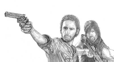 Rick And Daryl Art Print by Jennifer Campbell Brewer