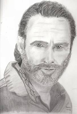 Grime Drawing - Rick Grimes by Dale Ballenger