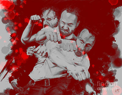 Digital Art - Rick Grimes by David Kraig