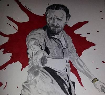 Grime Drawing - Rick Grimes  by Lavonda Johnson