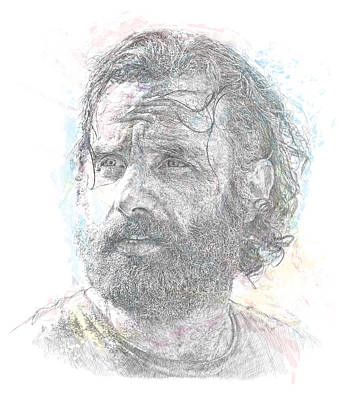 Digital Art Royalty Free Images - Rick Grimes Portrait Royalty-Free Image by Chad Lonius