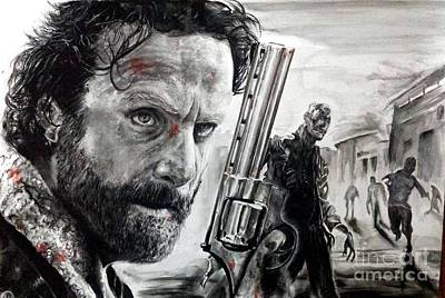 Grime Drawing - Rick Grimes by S G Williams