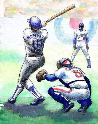 Baseball Drawing - Rick Monday by Mel Thompson