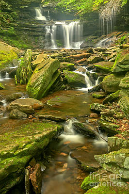 Photograph - Rickets Glen Cascading Waterfall Creek by Adam Jewell