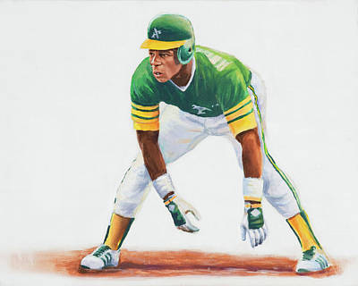 Out Fielder Painting - Rickey Henderson by Angie Villegas