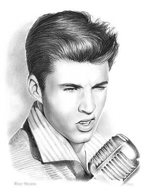 Musicians Drawings - Ricky Nelson by Greg Joens