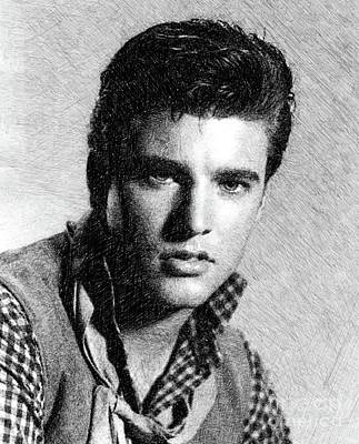 Musician Drawings - Ricky Nelson, Music Legend by JS by John Springfield
