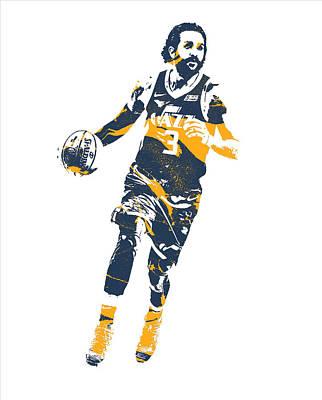 Utah Jazz Wall Art - Mixed Media - Ricky Rubio Utah Jazz Pixel Art 20 by Joe Hamilton
