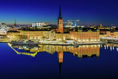 Photograph - Riddarholmen Perfect Blue Hour Reflection by Dejan Kostic