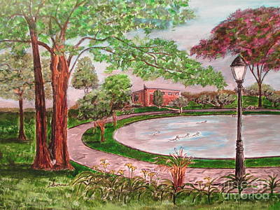 Hyde Park Drawing - Ridder's Pond Park by Olga Silverman
