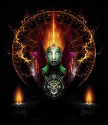 Digital Art - Riddian Queen Of Fire by Xzendor7