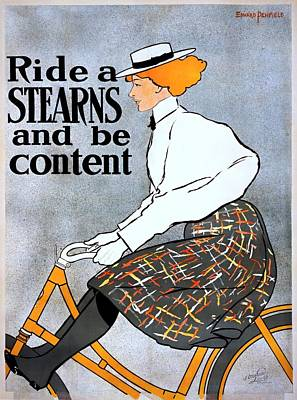 Painting - Ride A Stearns And Be Content, Bicycle Advertising Poster, 1896 by Vintage Printery