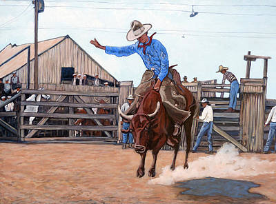 Bucking Bull Painting - Ride 'em Cowboy by Tom Roderick