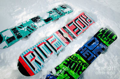 Ride In Powder Snowboard Graphics In The Snow Art Print by Andy Smy