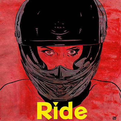 Motorcycle Drawing - Ride / Text by Giuseppe Cristiano