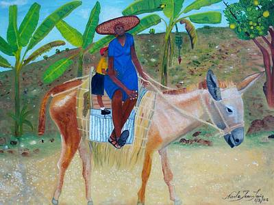 Art Print featuring the painting Ride To School On Donkey Back by Nicole Jean-Louis