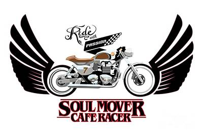 Motorcycle Wall Art - Painting - Ride With Passion Cafe Racer by Sassan Filsoof
