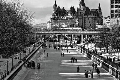 Photograph - Rideau Canal Is Open For Skating Bw by Tatiana Travelways