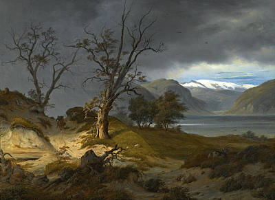 Fearnley Painting - Rider In A Landscape by Thomas Fearnley